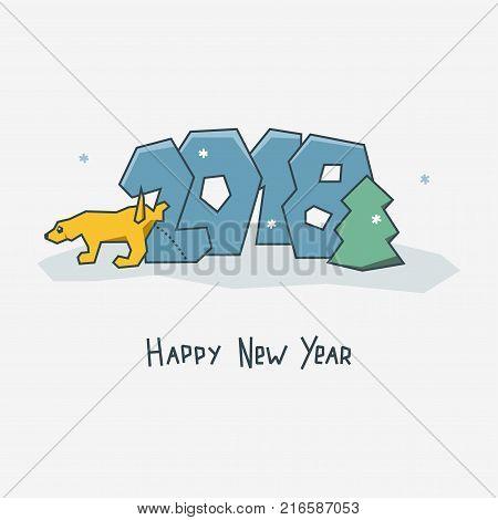 Happy new year card. Sign 2018. Piss Dog.  Chinese calendar. Joke, fun vector illustration