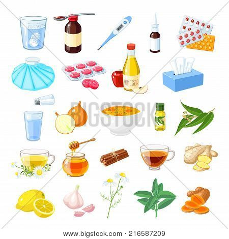 Set of home remedy for sore throat flu influenza cough: medicine syrup honey natural herbs and spices lozenges pills capsules drugs. Vector illustration cartoon icon isolated on white.