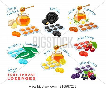 Cough drops. Sore throat remedy colorful set of package of lozenges flavored different tastes with inscriptions. Vector illustration cartoon flat icon collection isolated on white.