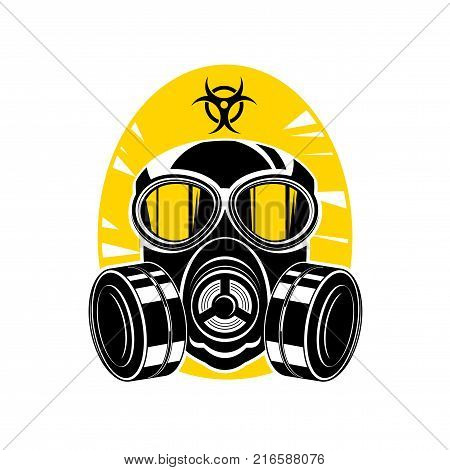 Vector illustration of a silhouette of a protective suit, gas mask with lenses and a hood, sign chemical hazard