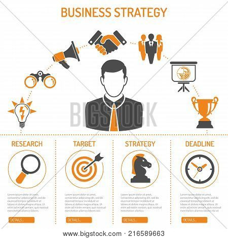 Business Strategy Process Concept and Infographics with two color flat icons like Target, Strategy, Idea, Research, Teamwork and Success. isolated vector illustration