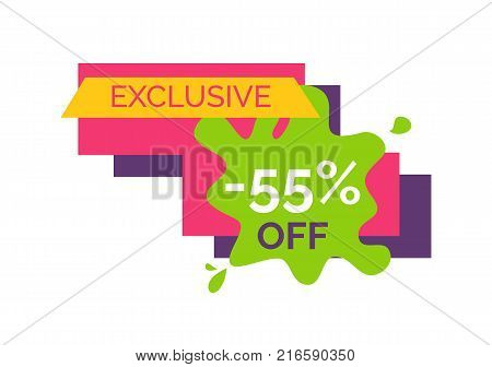 Exclusive -55 off, unique sticker representing number and percent, text sample on blood and rectangles on vector illustration isolated on white