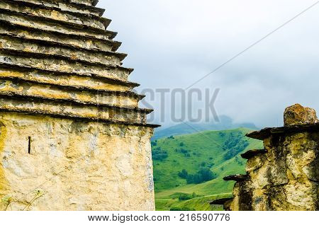 view of crypts of City of the Dead in republic of North Ossetia, Russia