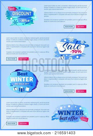 Final sale big winter discount - 70 off new offer -25 only today total price reduction set of labels with snowflakes snowballs vector web posters