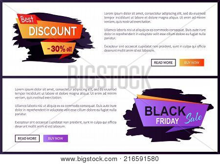 Best discount -30 off Black Friday big sale 2017 promo label inscription informing about special offer, commercial web banners with text vector