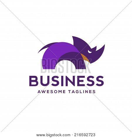 creative Rhino color logo, Animal logo, Animal logo collection, Elements for brand identity, little rhino color logo