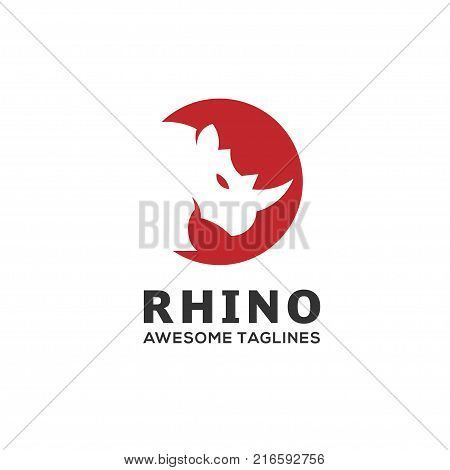 Rhinoceros. Rhino Logo. Business template. Rhinos head logo for sport club or team. Animal mascot logotype. Template. Vector illustration.