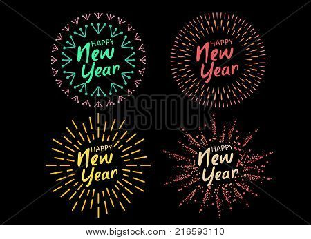 Happy New 2018 Year. Holiday Vector Illustration With Festive Typographic Composition. Happy New Year 2018 Label With Graphic Multicolored Firework Shape.