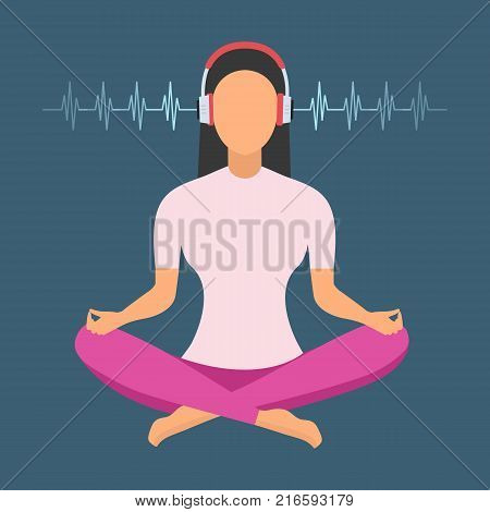 Young women with Headphones Listening to Music Meditates. Vector illustration.