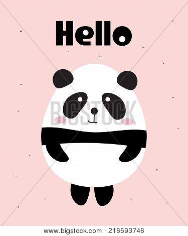 Cute little panda bear say Hello.  Vector illustration