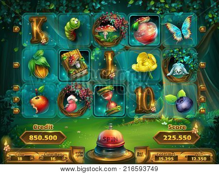 Playing field slots game for game user interface. Vector illustration screen to the computer game Shadowy forest GUI. Background image to create buttons banners graphics.