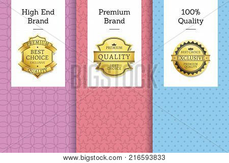 High end quality 100 premium brand golden labels set of logos design on colorful posters with text vector illustrations collection with stamps of gold
