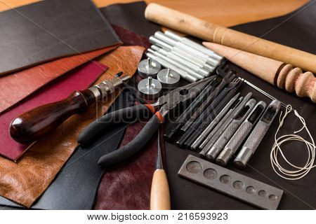 Leather crafting DIY tools flat lay