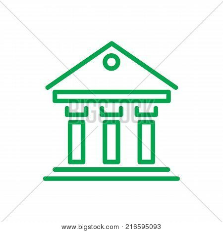Greek building infographic that signifies government or justice institution, green icon on vector illustration isolated on white background