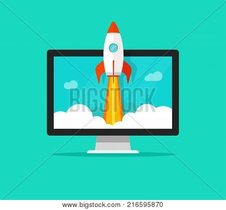 Startup vector concept, flat cartoon style quick rocket launch and computer or desktop pc, idea of successful business project start up, boost technology, innovation strategy