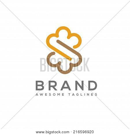 Infinity cloud letter s logo design vector, Cloud letter s logo template.