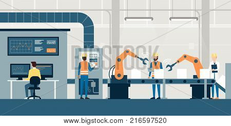 Efficient smart factory with workers robots and assembly line industry 4.0 and technology concept