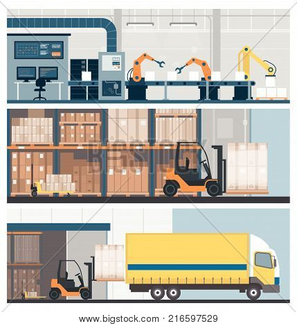 Smart factory 4.0 warehouse and freight transportation banner set