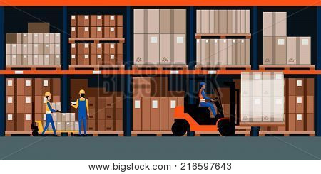 Warehouse interior with goods pallet trucks and industrial workers