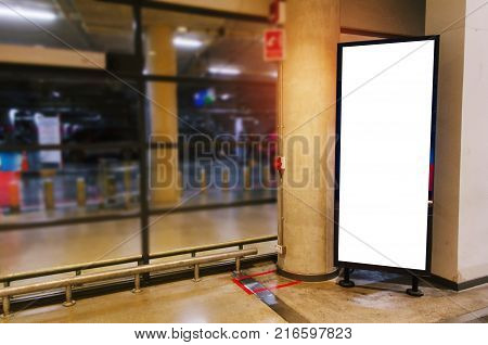 blank showcase billboard or advertising light box for your text message or media content in modern department store shopping mall advertisement commercial and marketing concept
