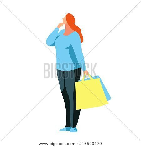 Shopping. Buyer stands in a reverie with bags in hands. Beautiful customer girl in a flat style isolated on white background. Plus size woman shopper. Vector illustration.