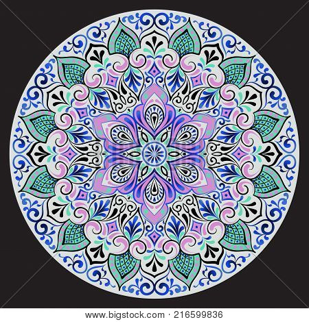 Drawing of a floral mandala with gray blue pink and green colors on a dark background. Hand drawn tribal vector stock illustration