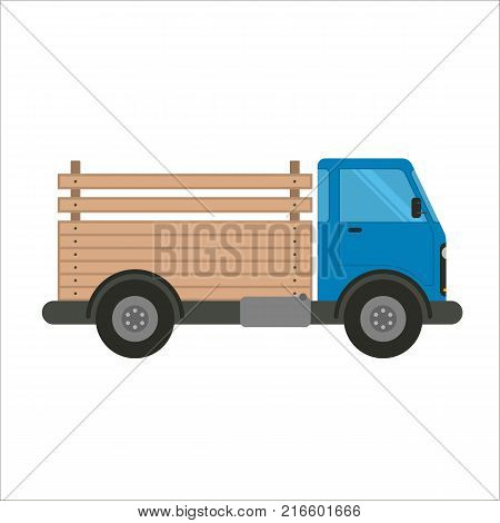 Pick-up truck vector flat illustration. Trucking and delivery car side view. Blue truck car with wooden pick-up body isolated on white background. Truck for transportation with open back made of wood.