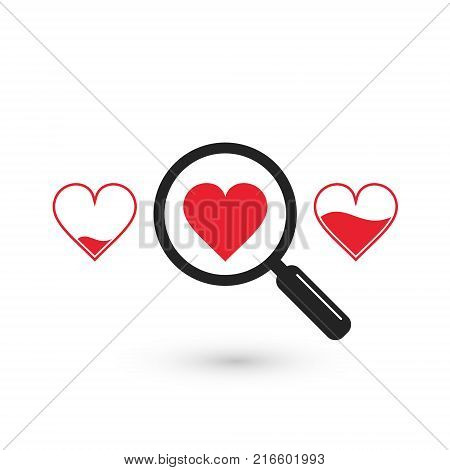Search suitable heart love icon vector isolated love concept.
