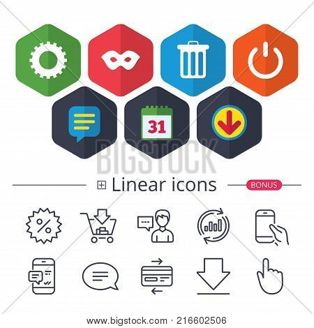 Calendar, Speech bubble and Download signs. Anonymous mask and cogwheel gear icons. Recycle bin delete and power sign symbols. Chat, Report graph line icons. More linear signs. Editable stroke. Vector