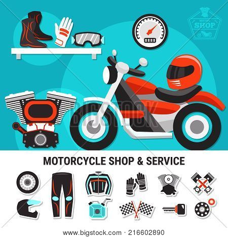 Motorcycle shop and service flat vector illustration with spare parts and bikers gear wares decorative elements