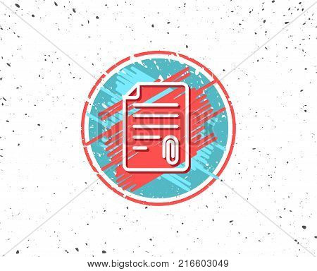 Grunge button with symbol. CV attachment line icon. Document file symbol. Random background. Vector