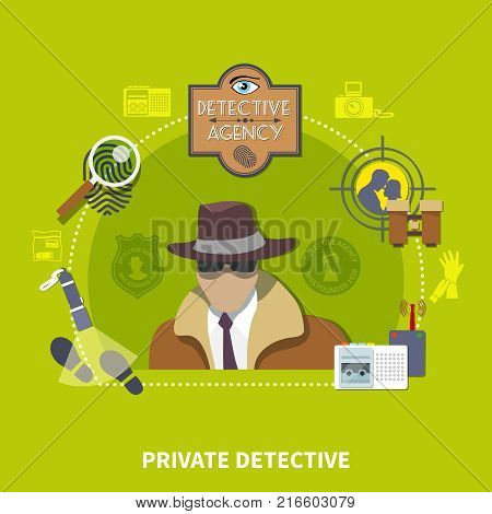 Detective flat colored concept with private detective description and his investigation agency vector illustration