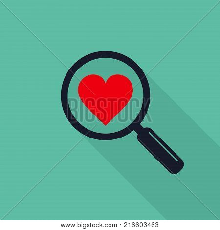 Search heart love icon flat vector illustration.
