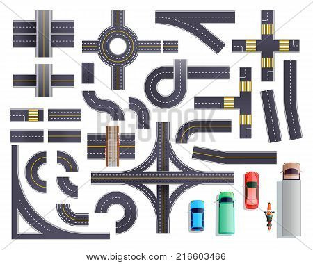 Set of road parts with roadside and marking including intersections, junctions, crosswalks, bridges, vehicles isolated vector illustration