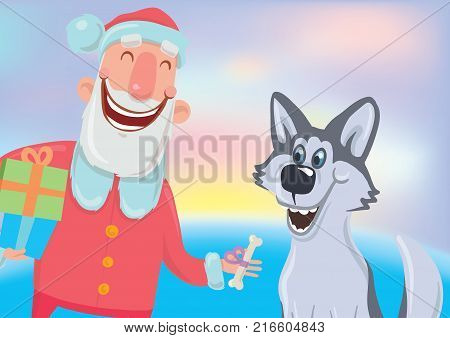 Happy laughing Santa Claus with bone and a dog. New year and Christmas cards for year of the dog according to the Eastern calendar. Vector Characters Illustration on glowing colourful background.