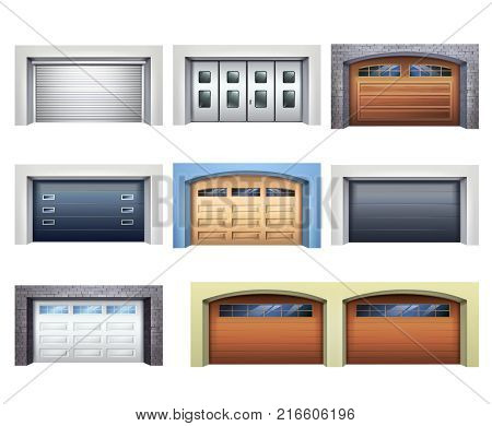Set of realistic garage doors from various material with mechanical or automatic control system isolated vector illustration