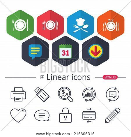 Calendar, Speech bubble and Download signs. Plate dish with forks and knifes icons. Chief hat sign. Crosswise cutlery symbol. Dining etiquette. Chat, Report graph line icons. More linear signs