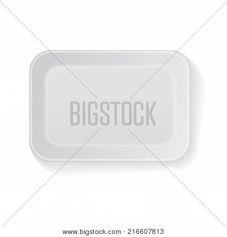 White Vector Rectangle Blank Styrofoam Plastic Food Tray Container. Mock Up Template for your design