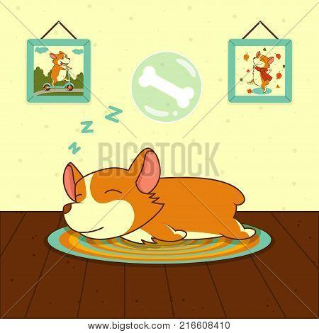 sleeping cute welsh corgi dog on mat. Sweet puppy dreams. Vector illustration
