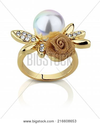 jewellery ring with pearl isolated on white clipping path