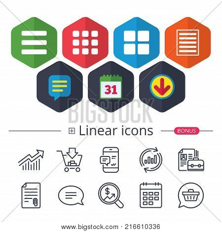 Calendar, Speech bubble and Download signs. List menu icons. Content view options symbols. Thumbnails grid or Gallery view. Chat, Report graph line icons. More linear signs. Editable stroke. Vector