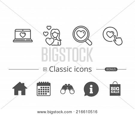 Heart, Search love and Romantic communication line icons. Valentines day and Click on button with heart signs. Information speech bubble sign. And more signs. Editable stroke. Vector