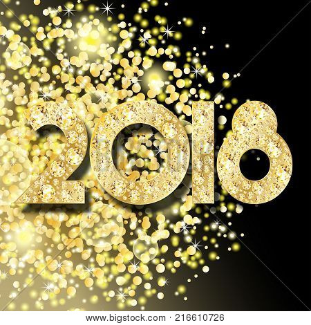 Vector golden glitter dust particles. Glowing magic shine star dust explosion and 2018 number made of gold and diamonds. Gemstones for xmas and new year design