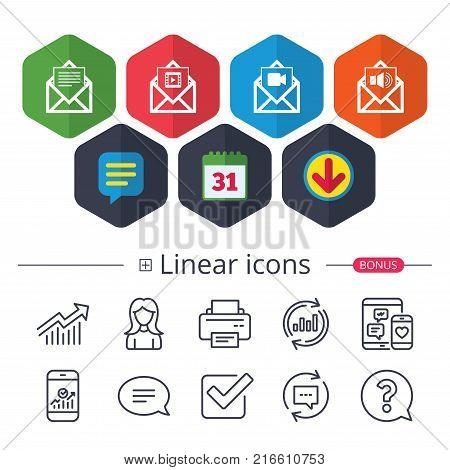 Calendar, Speech bubble and Download signs. Mail envelope icons. Message document symbols. Video and Audio voice message signs. Chat, Report graph line icons. More linear signs. Editable stroke