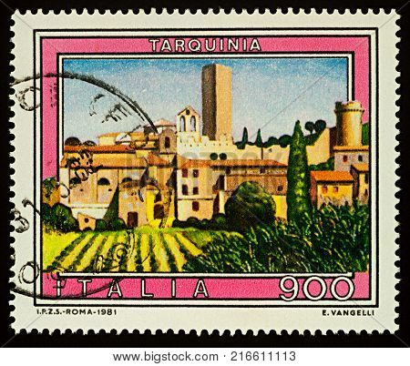 1981 Tarquinia Italy RomanEtruscan Europe citytownancientantique architecture building landscapecountryside tourismtravel picture stampvintageretro postage stamp postalphilately