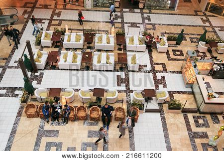 Petersburg, Russia - July 1, 2017: Shopping Entertainment Center Piter Park. Cafe In The Central Hal