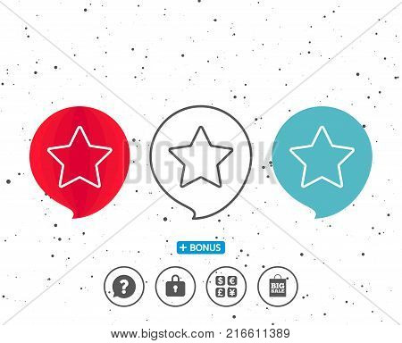 Speech bubbles with symbol. Star line icon. Best rank sign. Bookmark or Favorite symbol. Bonus with different classic signs. Random circles background. Vector
