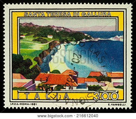 Moscow Russia - December 03 2017: A stamp printed in Italy shows resort town of Santa Teresa di Gallura on the island of Sardinia in Italy series