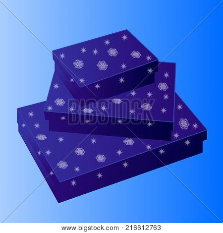 Christmas blue background with boxes of snowflakes
