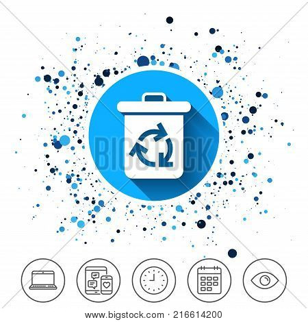 Button on circles background. Recycle bin icon. Reuse or reduce symbol. Calendar line icon. And more line signs. Random circles. Editable stroke. Vector